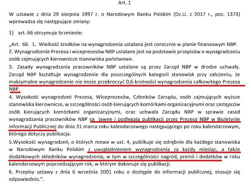 Fragment ustawy ws. wynagrodzeń w NBP