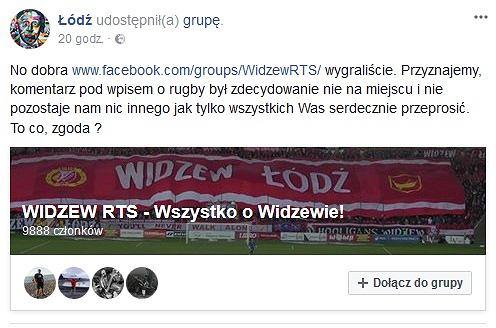 Post z oficjalnego profilu miasta na Facebooku