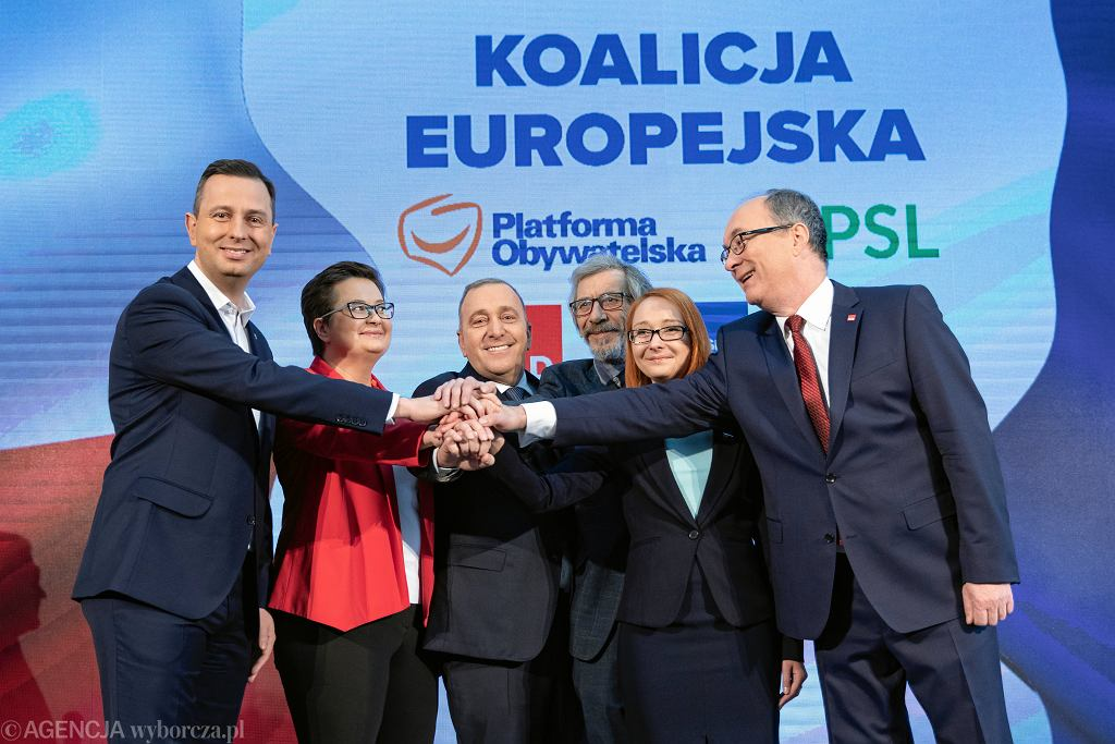 24.02.2019, Warszawa, Koalicja Europejska, od lewej: Władysław Kosiniak-Kamysz (PSL), Katarzyna Lubnauer (Nowoczesna), Grzegorz Schetyna (PO), Marek Kossakowski (Zieloni), Małgorzata Tracz (Zieloni), Włodzimierz Czarzasty (SLD).