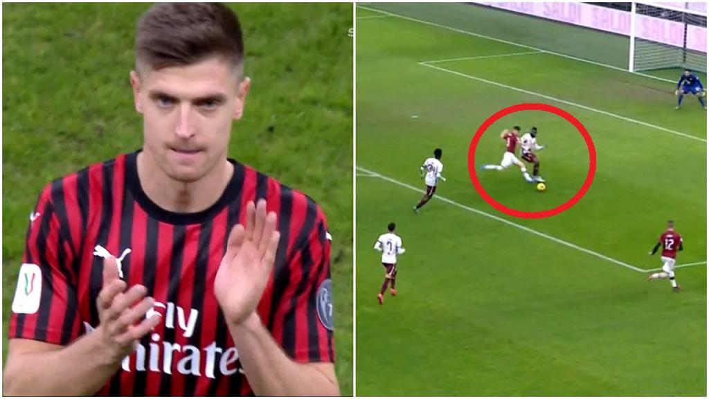 Krzysztof Piątek schodzi z boiska w meczu Milan - Torino