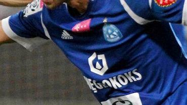 Koszulka piłkarza Ruchu Chorzów z nowym logo (na dole)