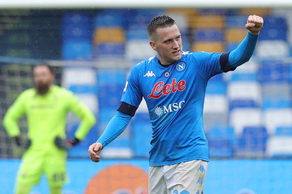 Piotr Zieliński po bramce w meczu Napoli - Fiorentina