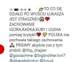 Komentarz na oficjalnym profilu 'Big Brothera' na Instagramie