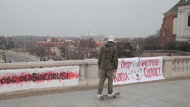 Warszawa. Protest Białorusinów i Białorusinek w czasie białoruskiego narodowego Święta Wolności