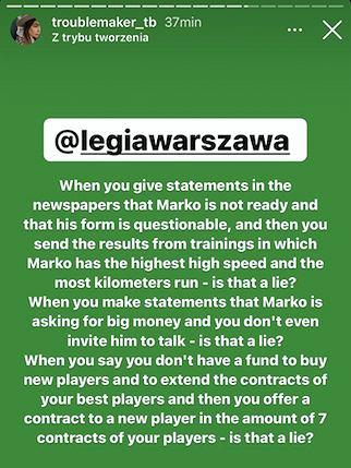 Tamara Vesović o sytuacji Marko Vesovicia w Legii Warszawa. Źródło: Instagram