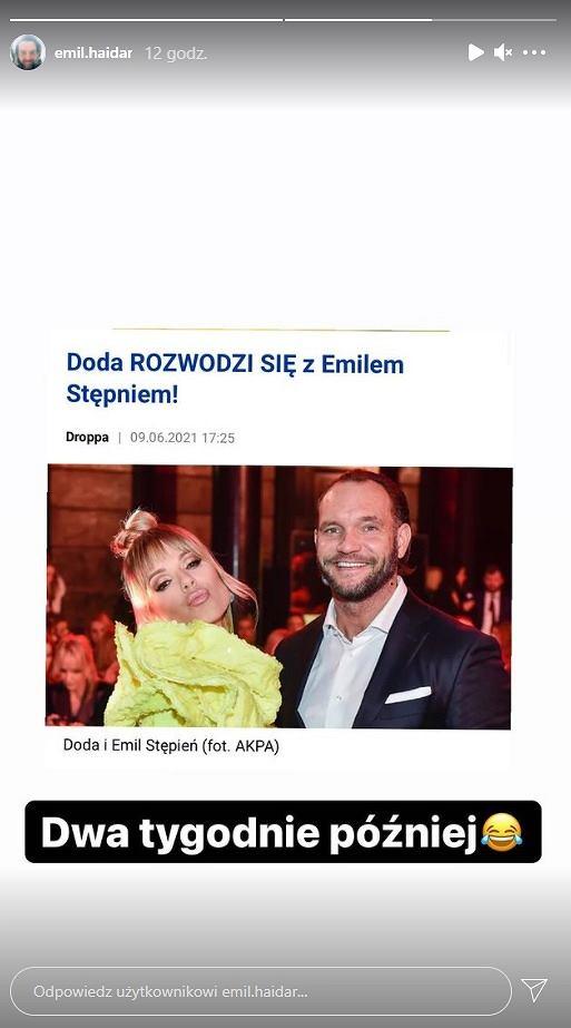 Emil Haidar zamieścił screeny, wyśmiewając rozwód Dody