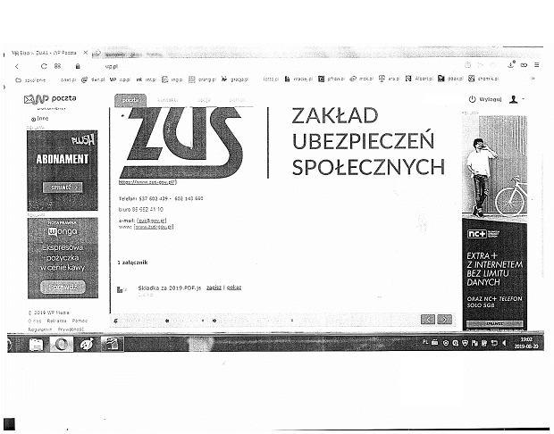 Skan maila wysłanego przez oszustów do klientki ZUS w Zielonej Górze.