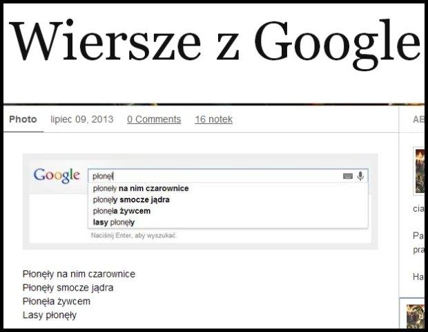 Wiersze z Googla