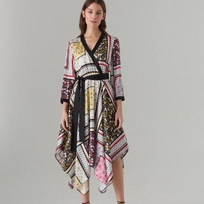 Sukienka midi z kopertowym dekoltem