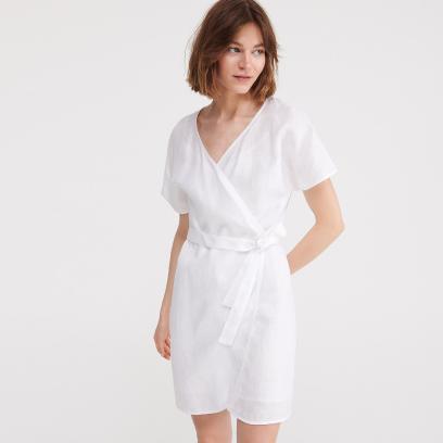 1. Lniana kopertowa sukienka
