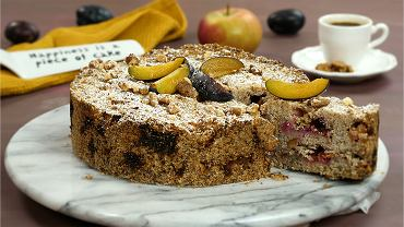 Sypane ciasto ze śliwkami i jabłkami FIT