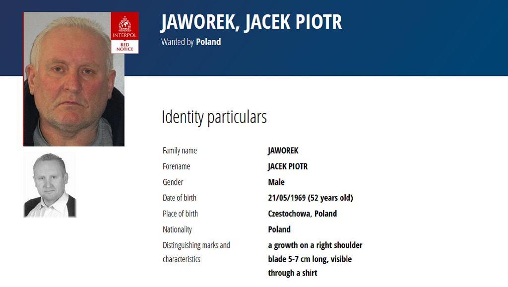 Jacek Jaworek. Czerwona nota Interpolu