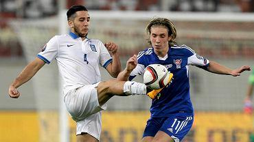 El. Euro 2016. Grecja - Wyspy Owcze 0:1. Kostas Manolas i Joan Edmundsson
