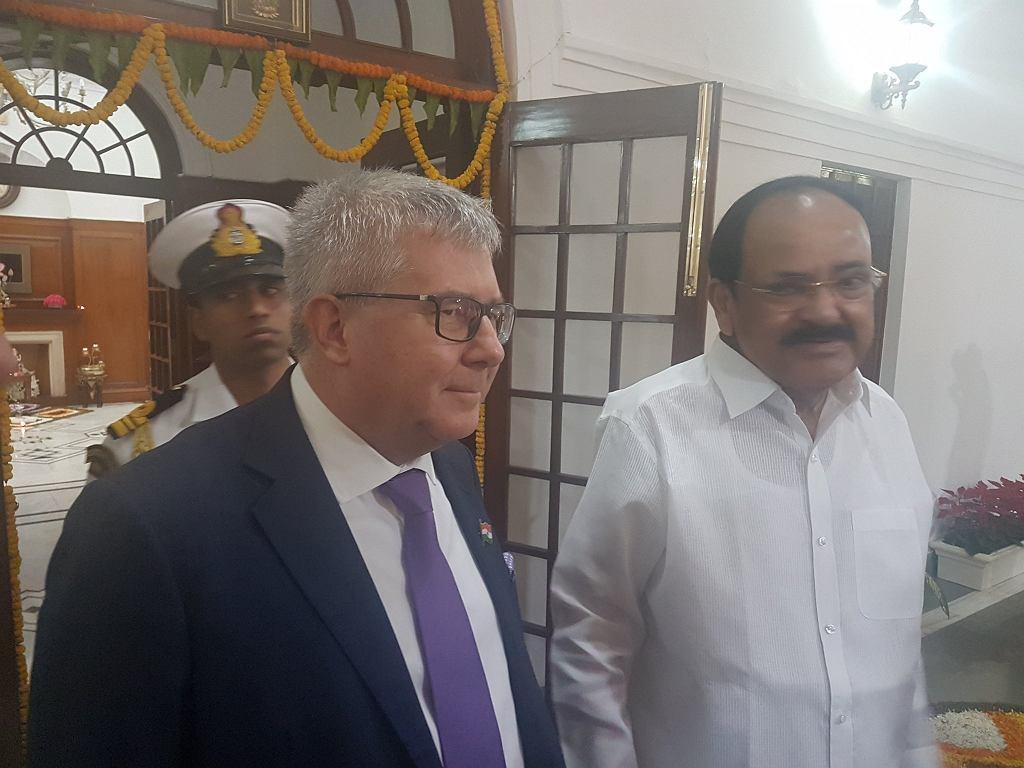 Ryszard Czarnecki z wiceprezydentem Venkaiahem Naidu
