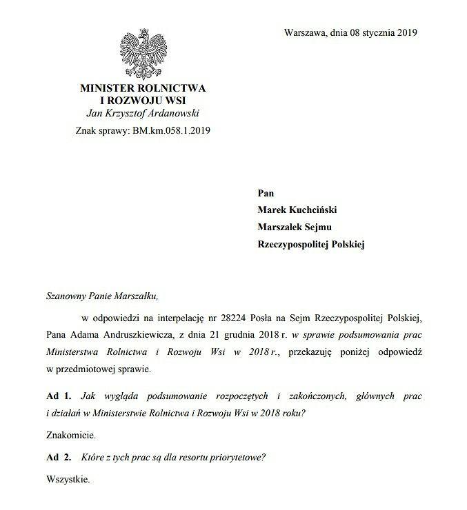 Odpowiedź ministra rolnictwa Jana Krzysztofa Ardanowskiego na interpelację posła Adama Andruszkiewicza
