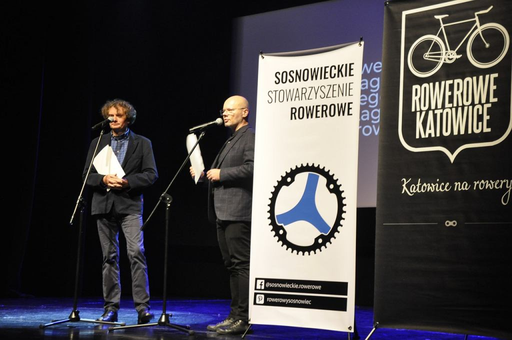 Grzegorz Ossoliński i Krzysztof Popławski podczas gali RowerPower w sosnowieckiej Muzie