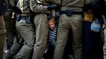 Protesty przeciwko sfałszowanym wyborom na Białorusi.