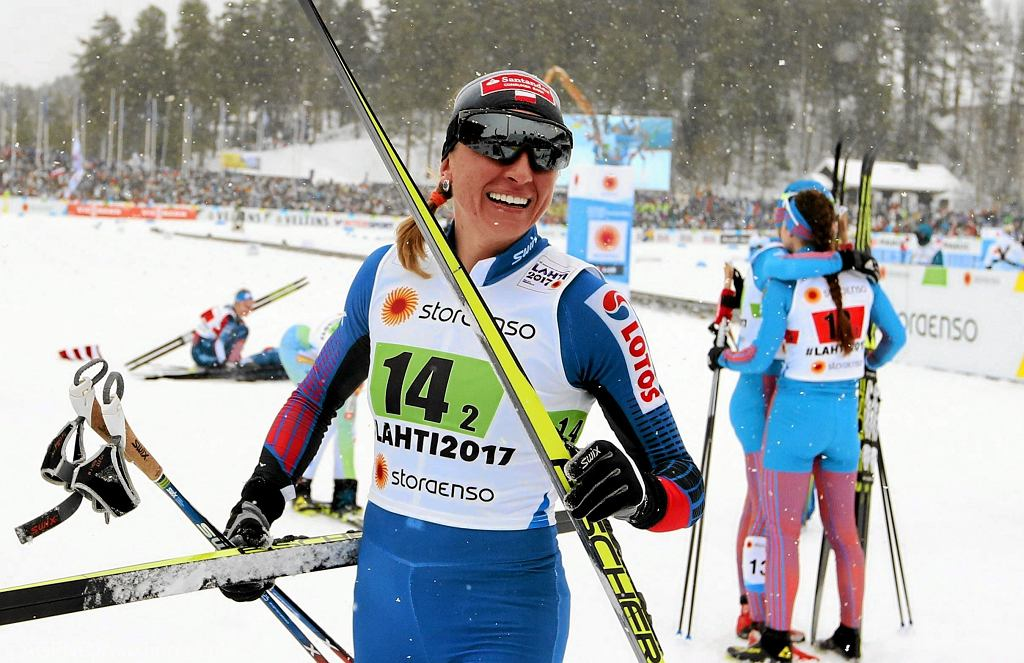Justyna Kowalczyk po biegu w konkurencji sprint drużynowy 4x5 km na mistrzostwach świata w Lahti