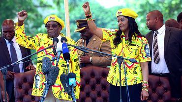 Robert Mugabe z żoną Grace