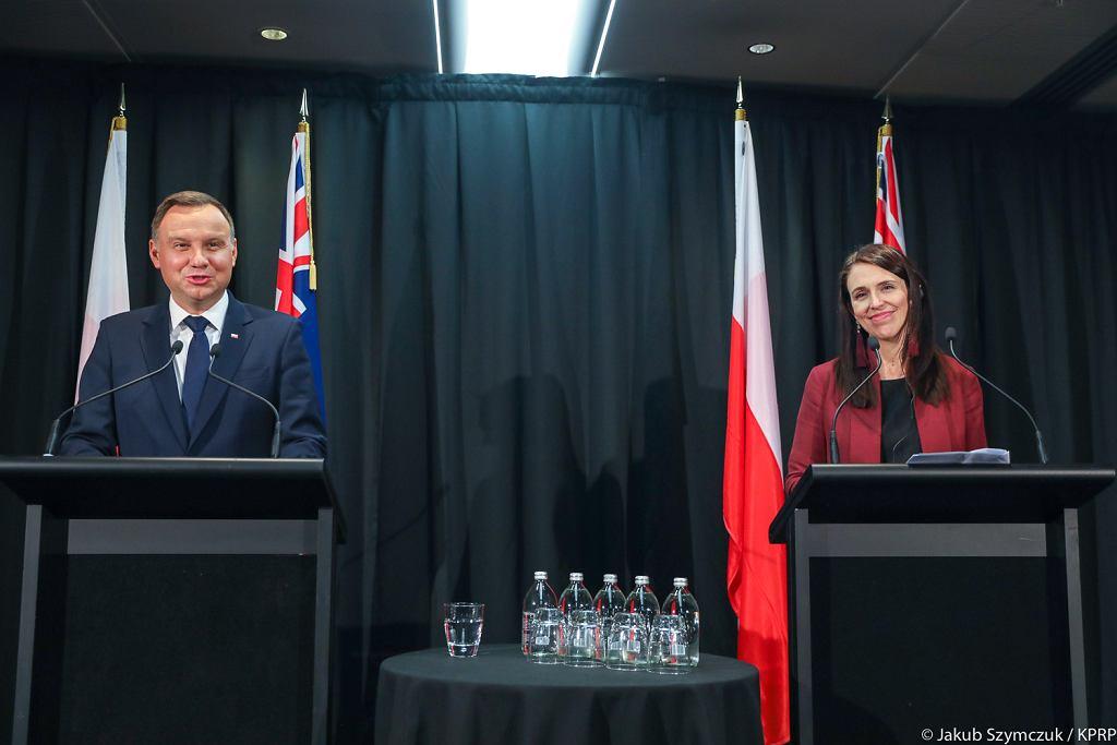 Andrzej Duda w Nowej Zelandii. Konferencja z nowozelandzką premier Jacindą Ardern