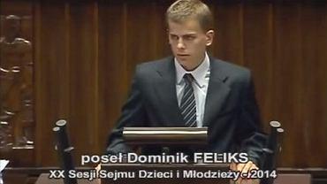 Dominik Feliks podczas wystąpienia w Sejmie