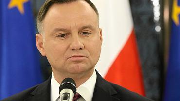 Prezydent RP Andrzej Duda komentuje expose premiera rządu PiS. Warszawa, 19 listopada 2019