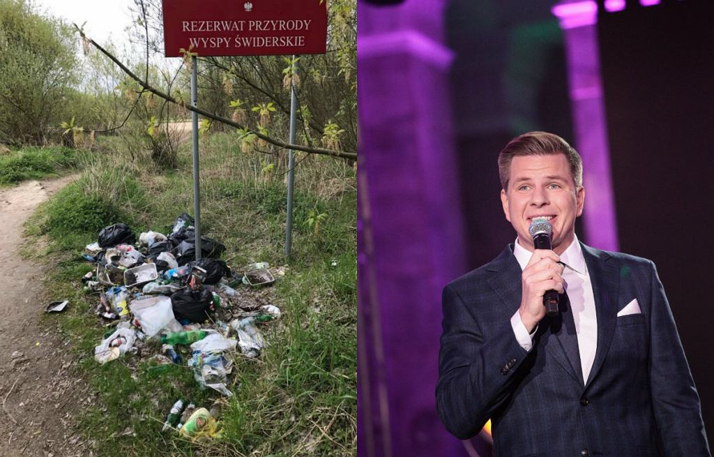 Pod tablicą Rezerwatu leżały butelki, plastikowe torby, plastikowe opakowania