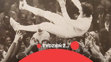 Radość po złotym medalu polskich szermierzy podczas igrzysk olimpijskich w Monachium