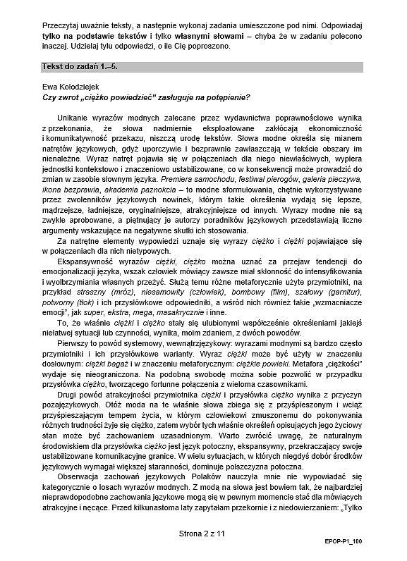 Arkusz maturalny z języka polskiego