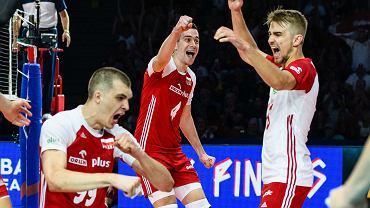 Norbert Huber, Jakub Popiwczak i Marcin Komenda w meczu Polski z Brazylią