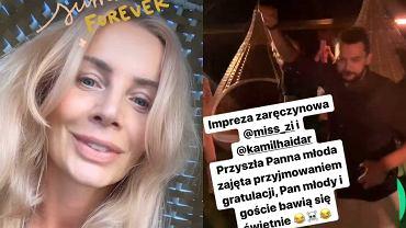 Agnieszka Woźniak-Starak na imprezie zaręczynowej Ślotały i Haidara