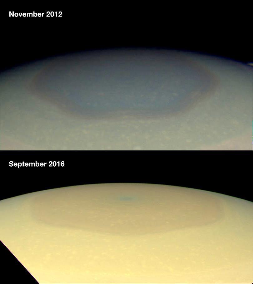 Na górze sześciokątny wir na Saturnie sfotografowany w listopadzie 2012 roku, na dole zdjęcie z września 2016 roku