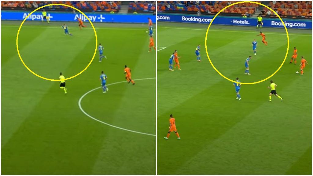 Dwa wyjścia na pozycje Denzela Dumfriesa w meczu Holandii z Ukrainą na Euro 2020. Po obu padły bramki