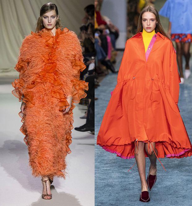 Kolor pomarańczowy na wybiegach Mary Katrantzou i Carolina Herrera