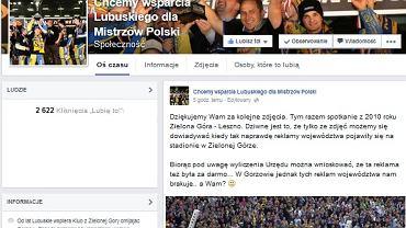 """Profil """"Chcemy wsparcia Lubuskiego dla Mistrzów Polski"""""""
