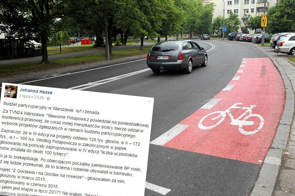 Pas rowerowy na ul. Handlowej, wpis Johanny Haase
