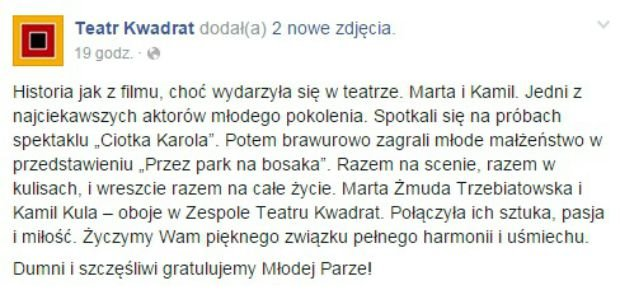 Wpis z Facebooka Teatru Kwadrat
