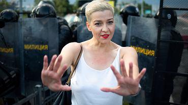 30.08.2020 Białoruś, Mińśk. Maryja Kalesnikawa w trakcie demonstracji