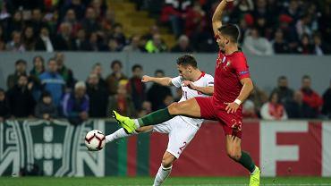 20.11.2018, Guimaraes, mecz Portugalia-Polska, Przemysław Frankowski i Andre Silva