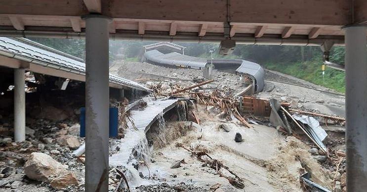Tor bobslejowy w Koenigsee po powodzi w Niemczech