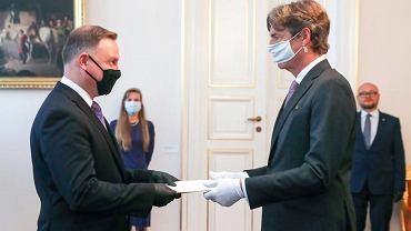 Prezydent Andrzej Duda przyjmujący listy uwierzytelniające od nowego ambasadora Niemiec w Polsce