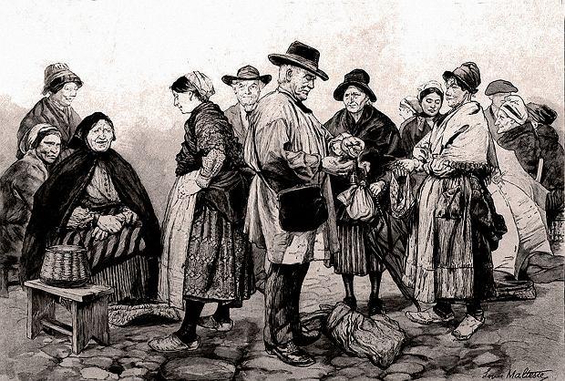 Cahors we Francji: targ truflowy (rysunek z 1893 roku)