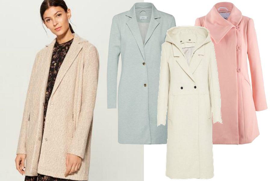 Pastelowe płaszcze w różnych odcieniach