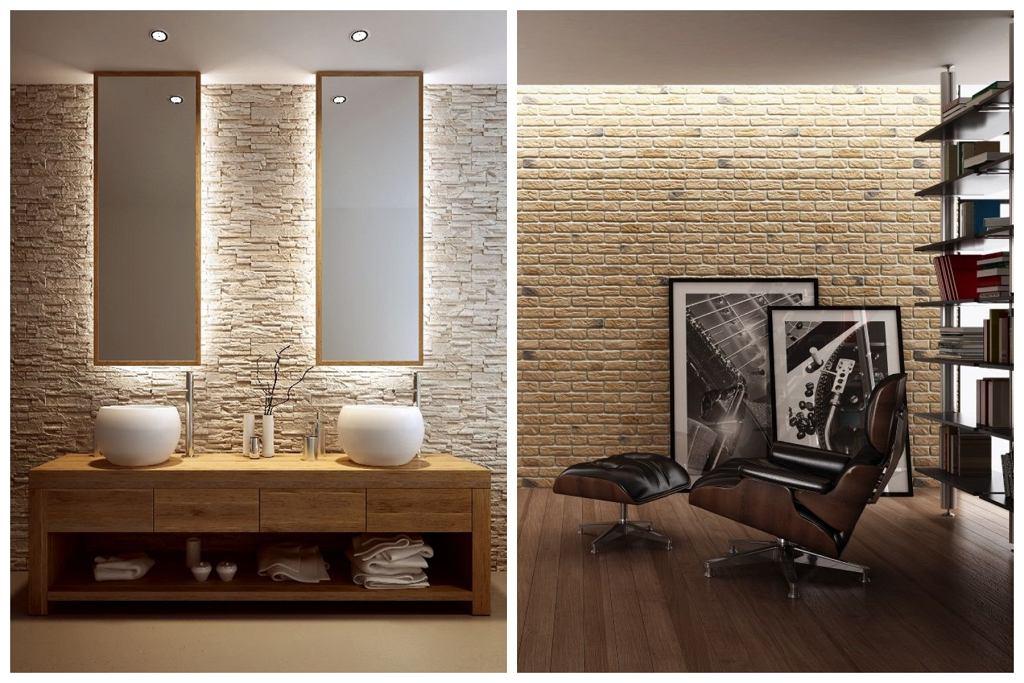 Z lewej: Kamień Roma Sahara. Z prawej: Kamień Loft Brick.