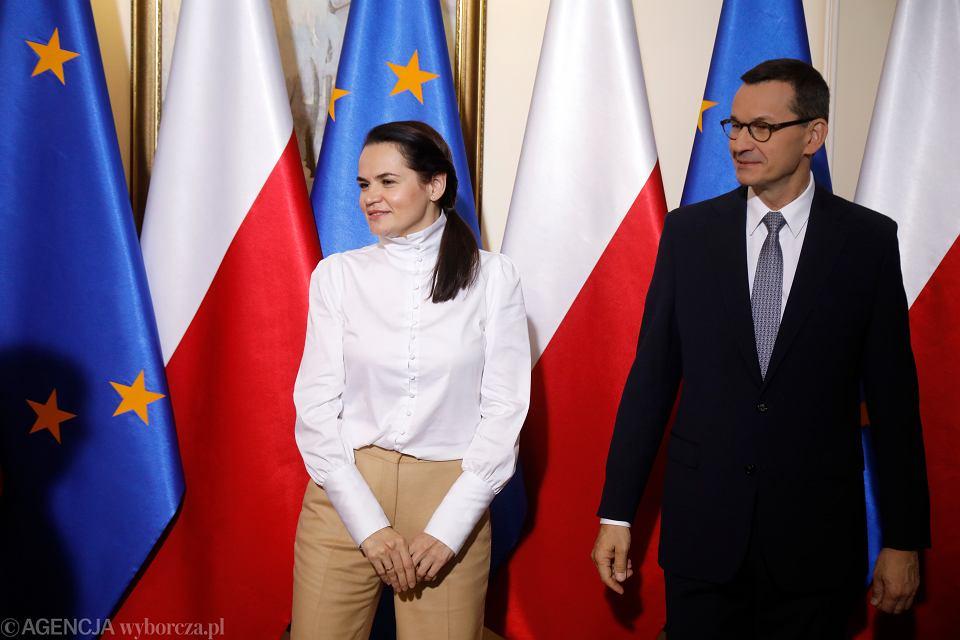 Swiatłana Cichanouska na spotkaniu z premierem Mateuszem Morawieckim, Warszawa, 9 września 2020 r.