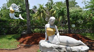 Zakryte piersi syrenek w parku Ancol w Dżakarcie.