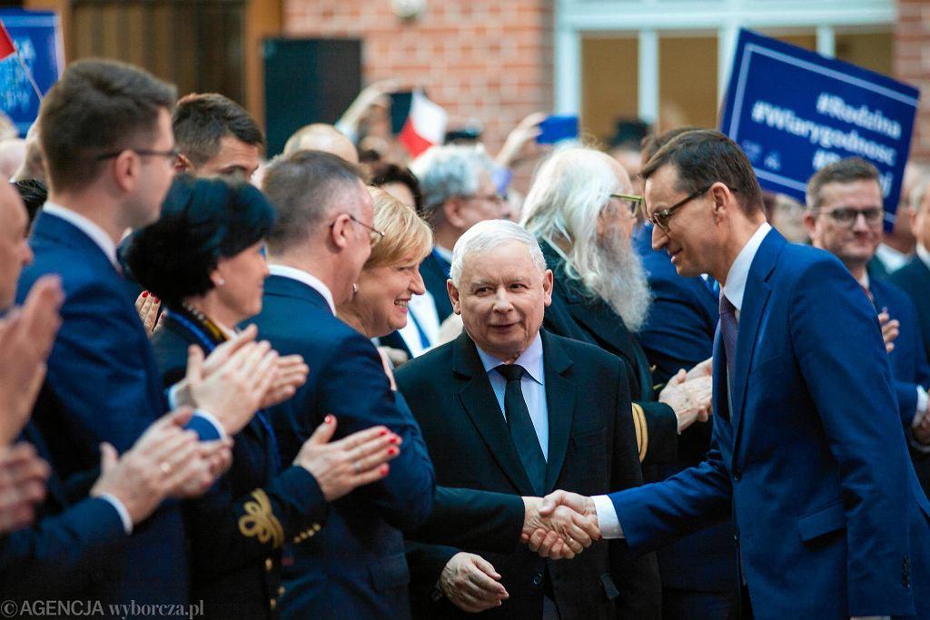 Konwencja PiS w Gdańsku przed wyborami do Parlamentu Europejskiego z udziałem Jarosława Kaczyńskiego i premiera Mateusza Morawieckiego