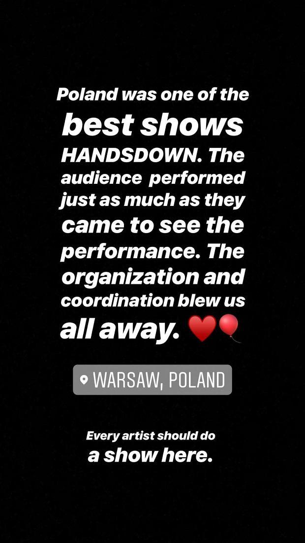 Post Zeriny Akres, styliski Beyonce, po koncercie w Warszawie