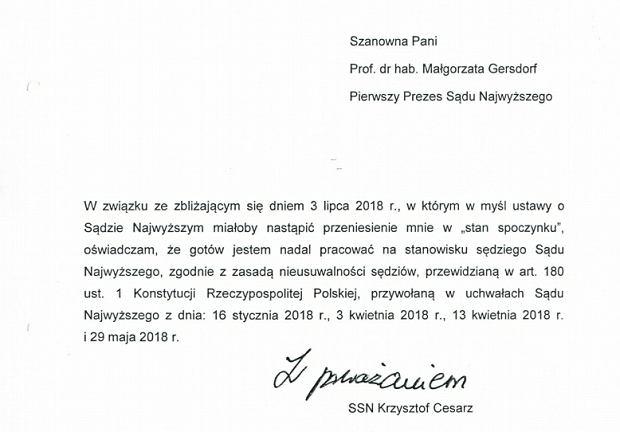 Oświadczenie sędziego Sądu Najwyższego Krzysztofa Cesarza