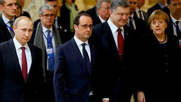 Przwódcy Rosji, Francji, Ukrainy i Niemiec podczas spotkania w Mińsku